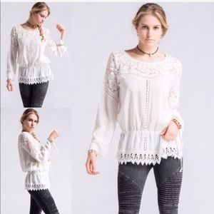 Tops - Off White Lace Tunic
